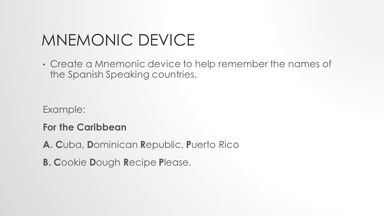 Mnemonic device Create a Mnemonic device to help remember the names of the Spanish Speaking countries.