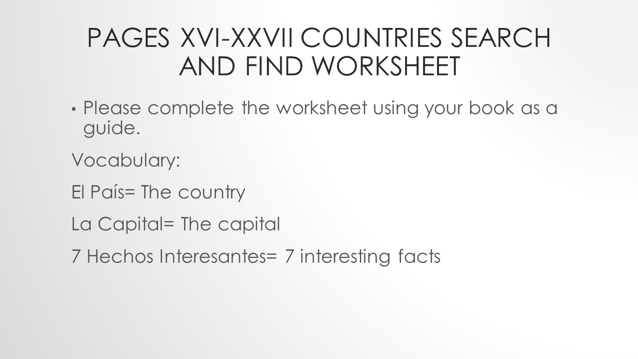 Pages Xvi-xxvii countries search and find worksheet
