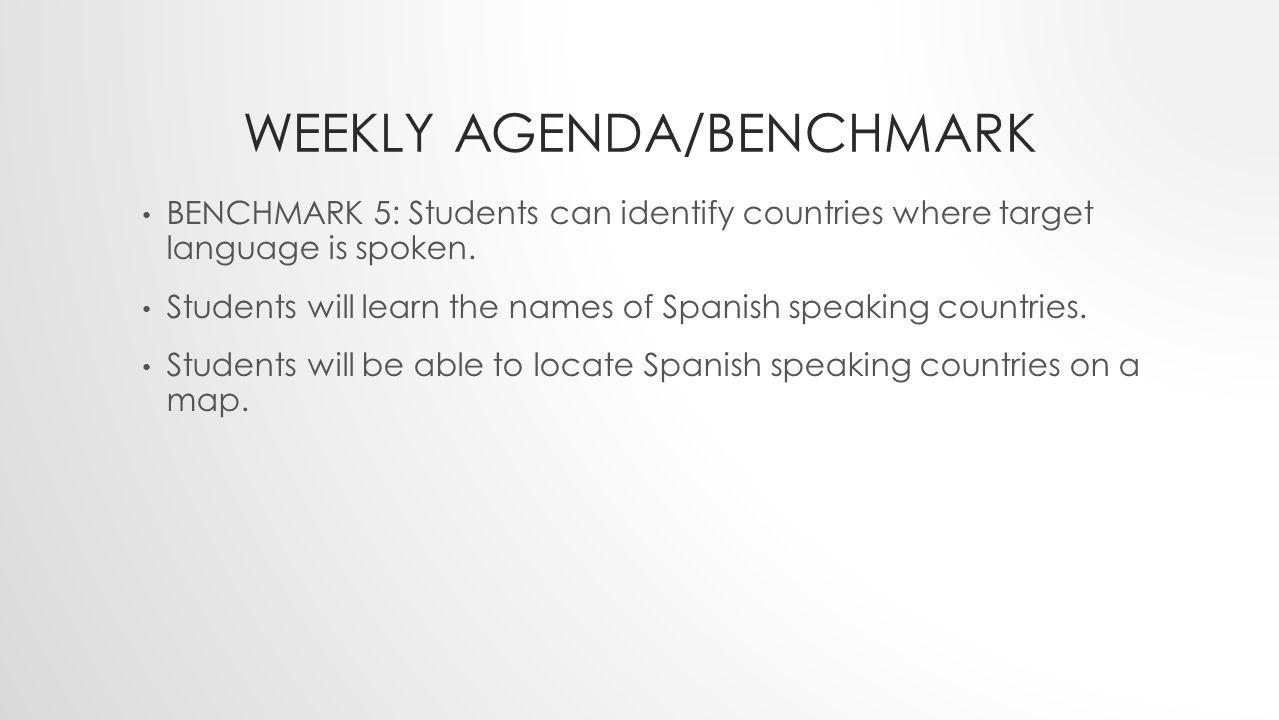 Weekly Agenda/benchmark