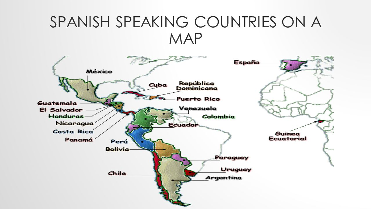 Image result for spanish speaking countries map