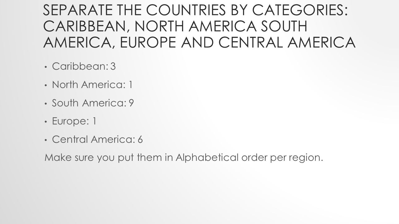Separate the countries by categories: Caribbean, North America South America, EUROPE and Central AMERICA