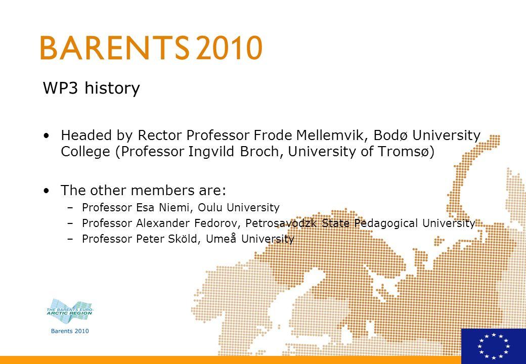 WP3 history Headed by Rector Professor Frode Mellemvik, Bodø University College (Professor Ingvild Broch, University of Tromsø)