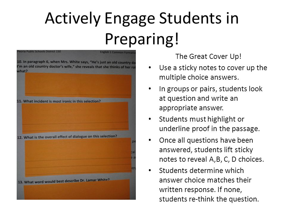 Actively Engage Students in Preparing!