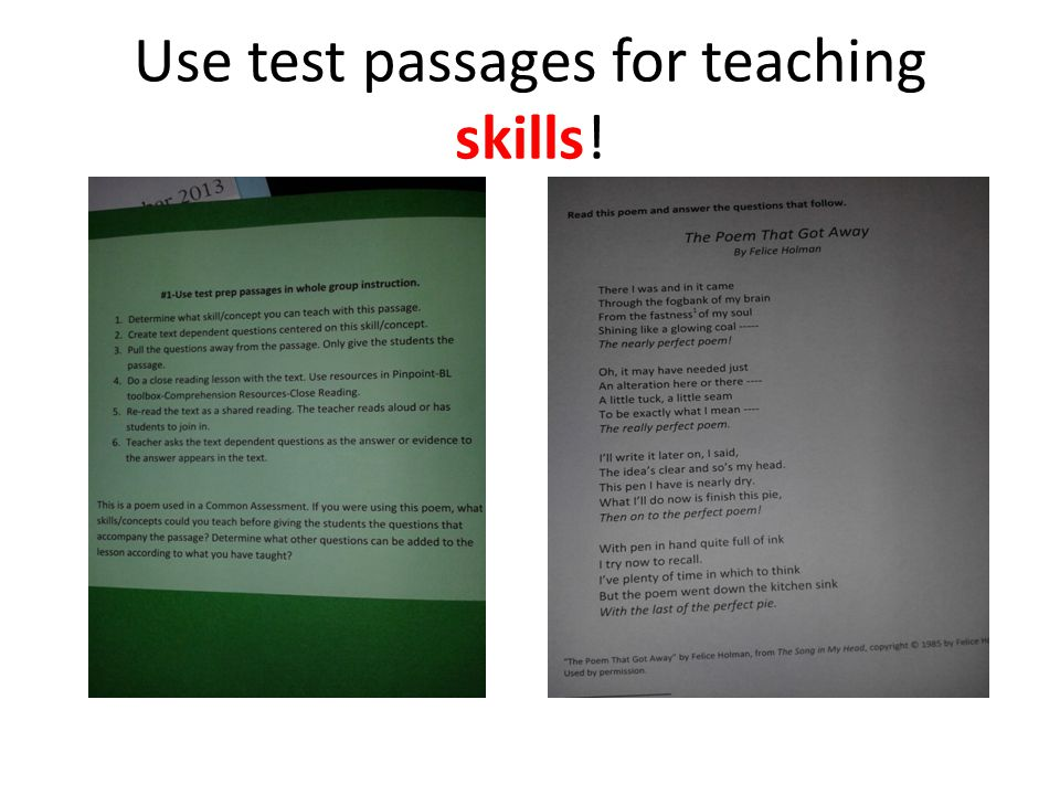 Use test passages for teaching skills!