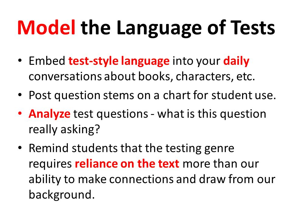 Model the Language of Tests