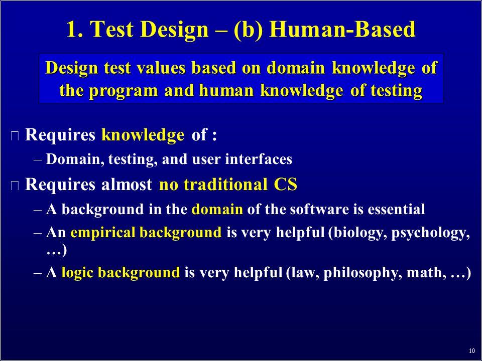 1. Test Design – (b) Human-Based