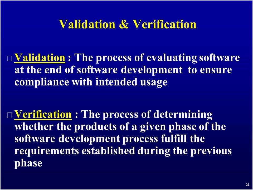 Validation & Verification