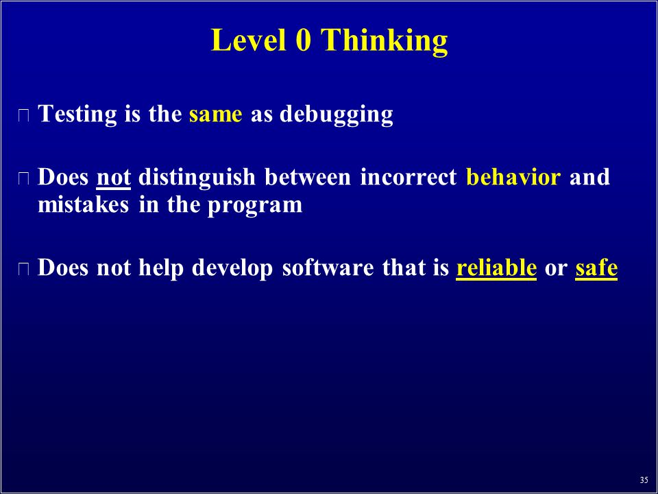 Level 0 Thinking Testing is the same as debugging