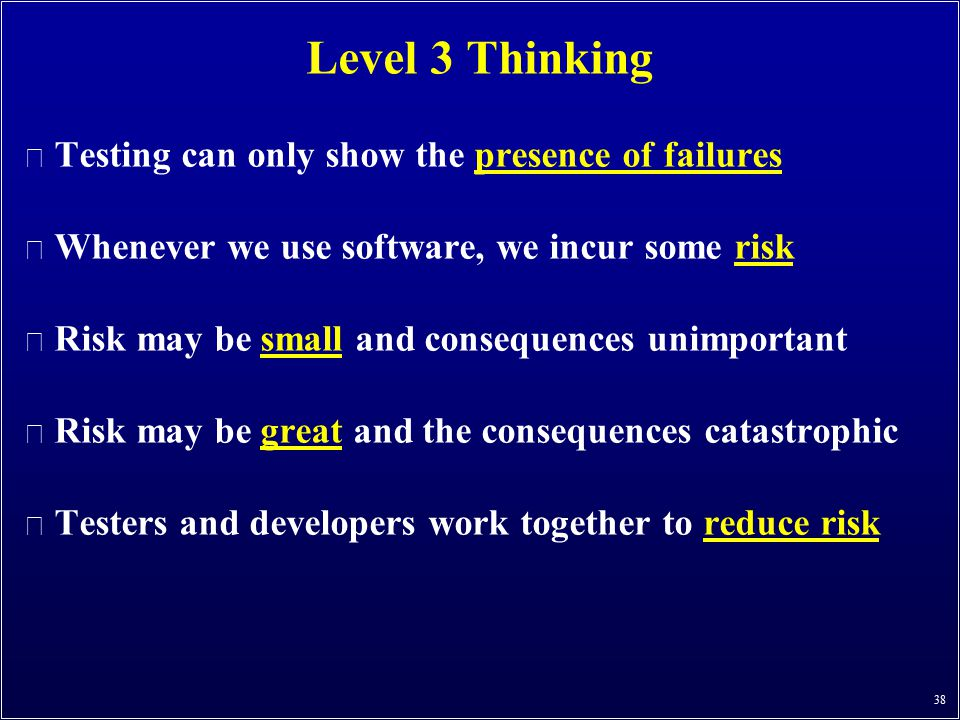 Level 3 Thinking Testing can only show the presence of failures