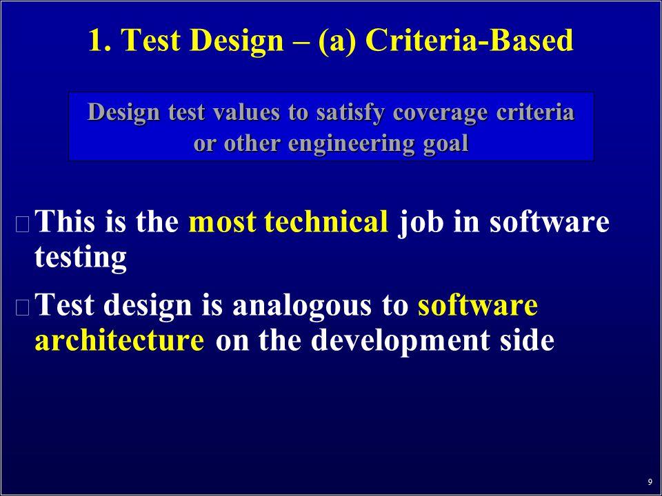 1. Test Design – (a) Criteria-Based