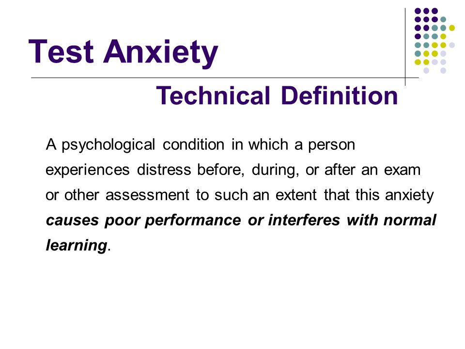 Test Anxiety Technical Definition