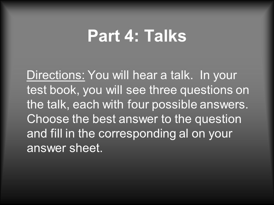 Part 4: Talks
