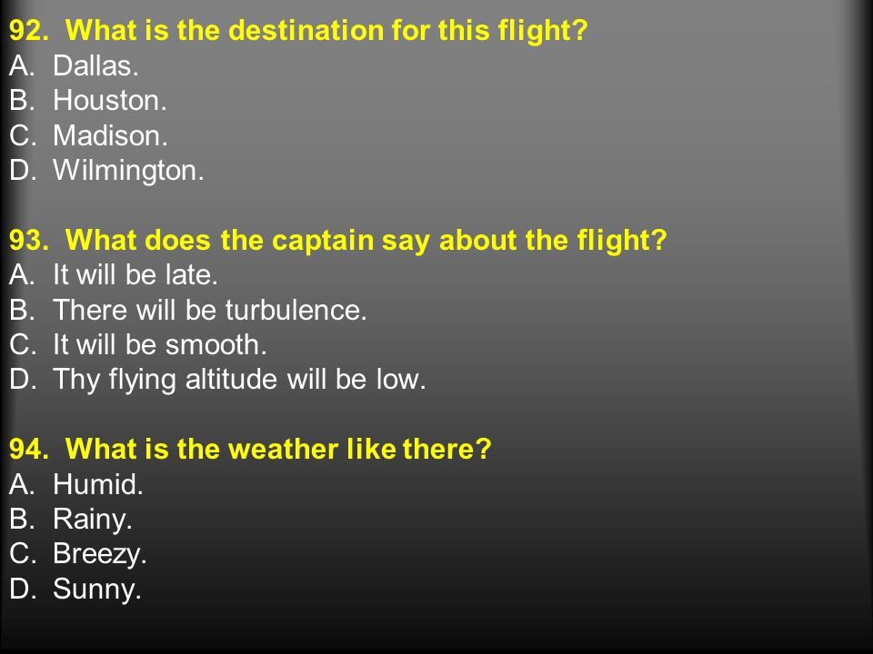 92. What is the destination for this flight