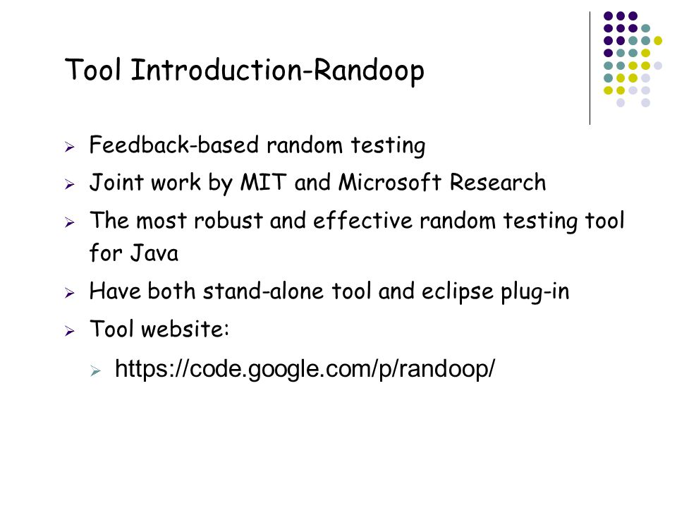 Tool Introduction-Randoop