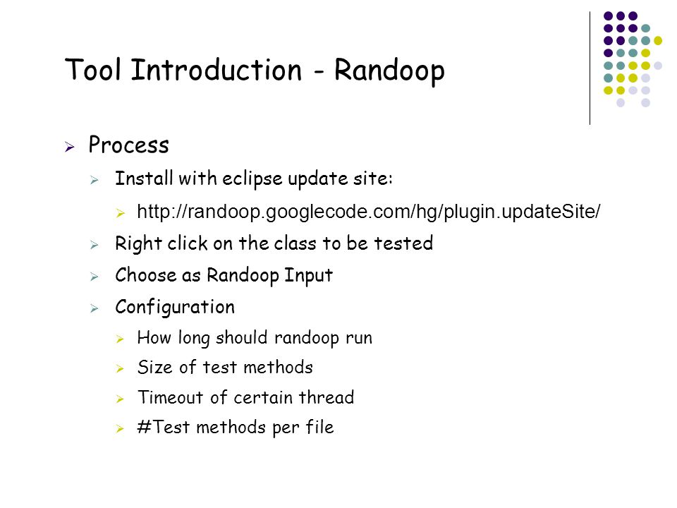 Tool Introduction - Randoop