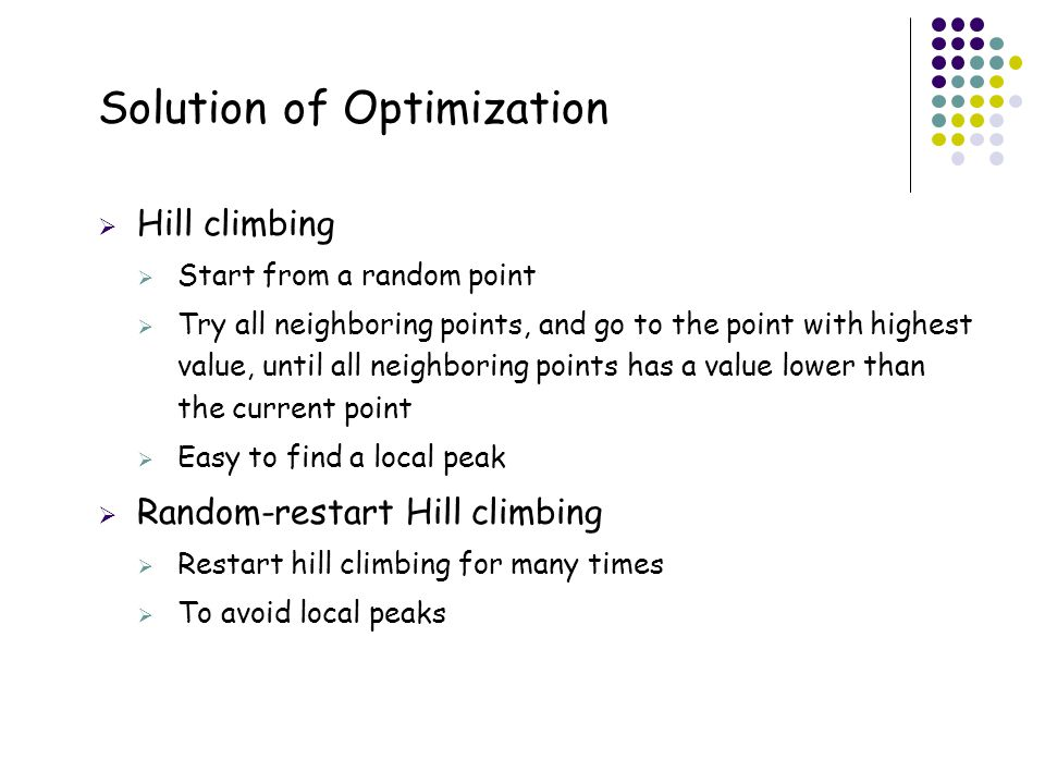 Solution of Optimization