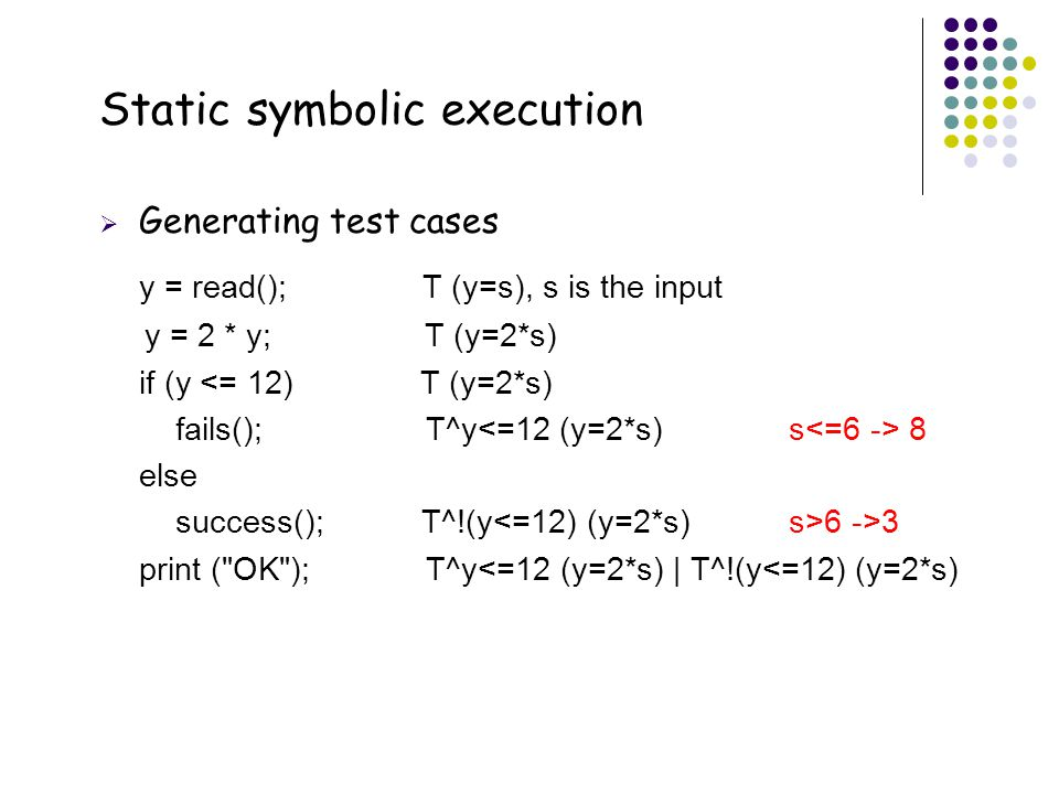 Static symbolic execution
