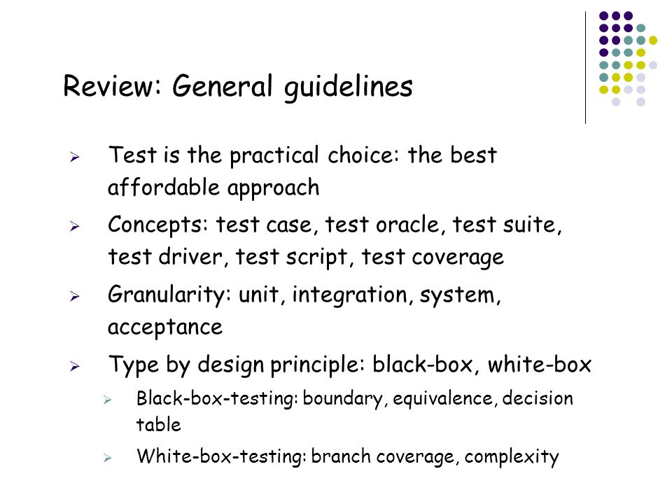 Review: General guidelines