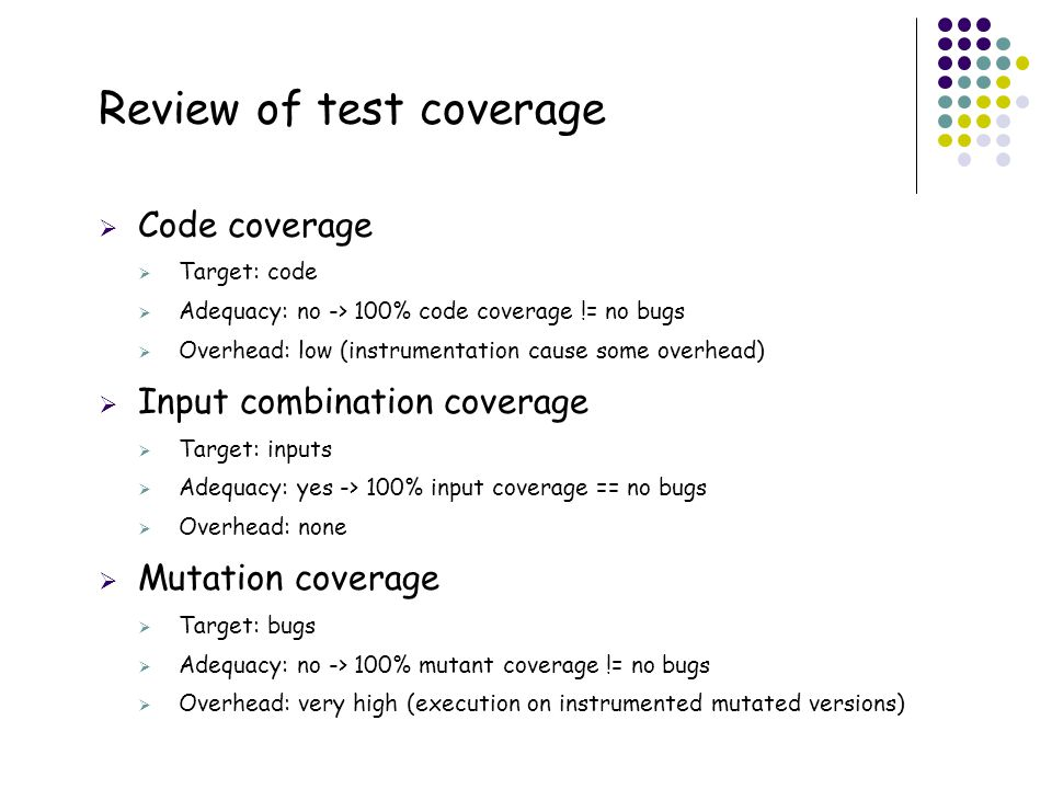 Review of test coverage