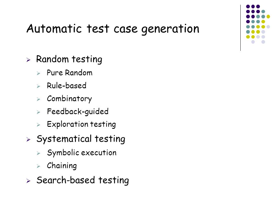 Automatic test case generation