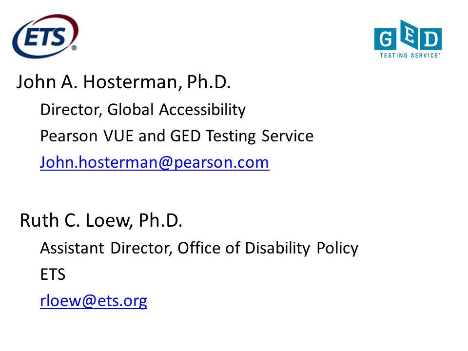 John A. Hosterman, Ph.D. Ruth C. Loew, Ph.D.