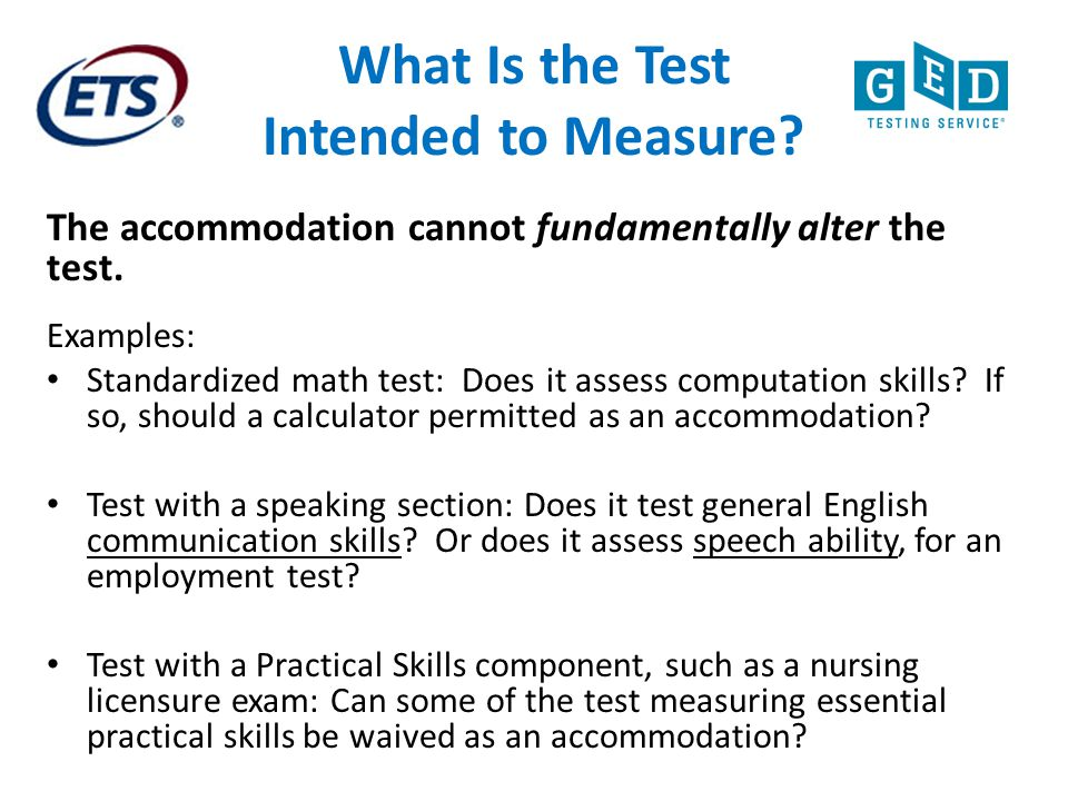 What Is the Test Intended to Measure