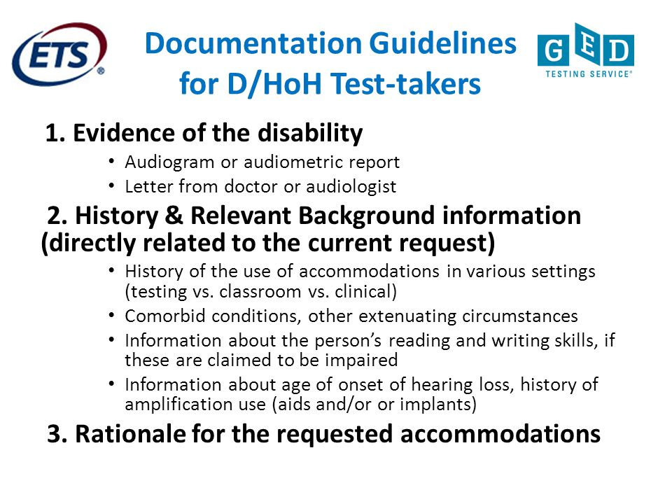 Documentation Guidelines for D/HoH Test-takers