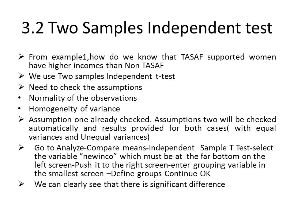 3.2 Two Samples Independent test