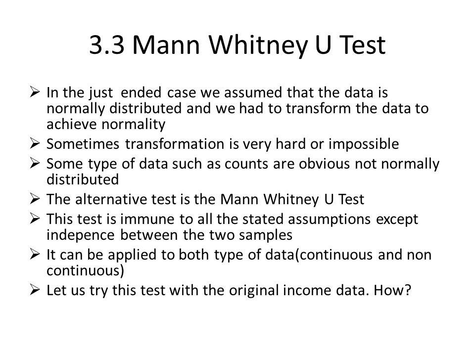 3.3 Mann Whitney U Test