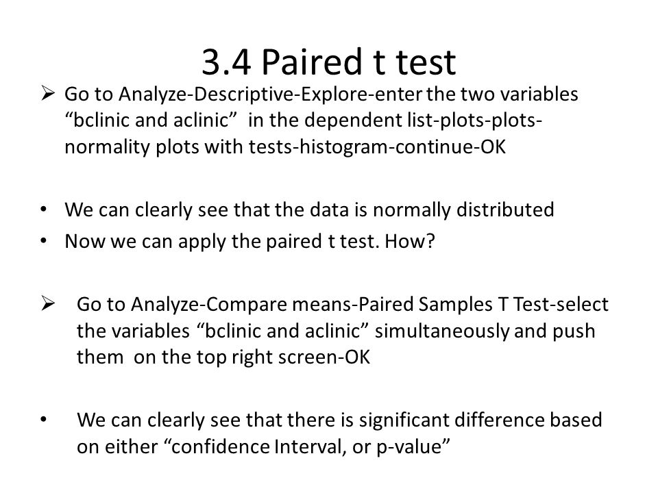 3.4 Paired t test