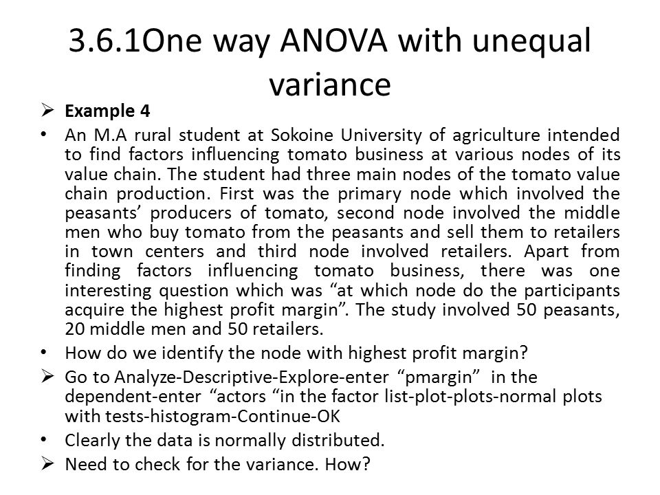 3.6.1One way ANOVA with unequal variance