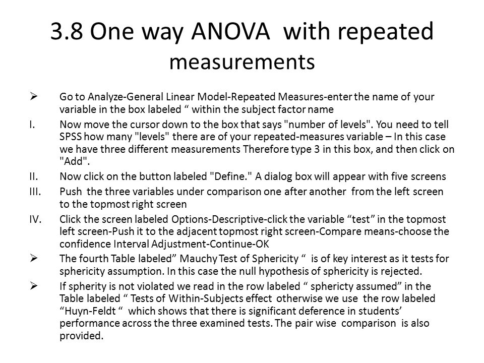 3.8 One way ANOVA with repeated measurements