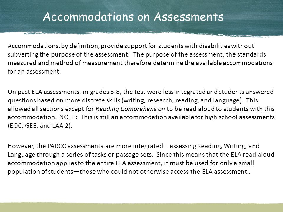 Accommodations on Assessments