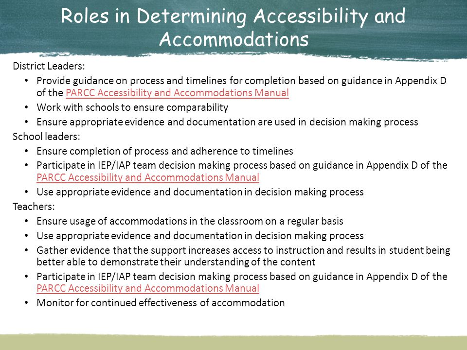 Roles in Determining Accessibility and Accommodations