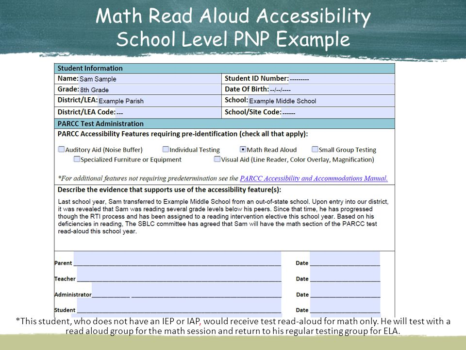 Math Read Aloud Accessibility School Level PNP Example
