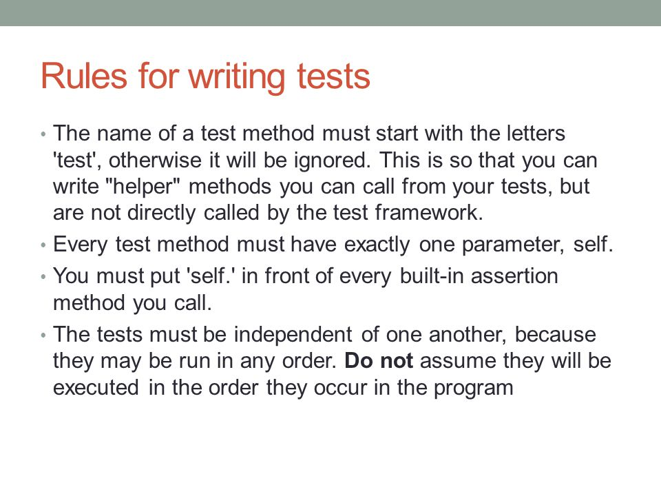 Rules for writing tests