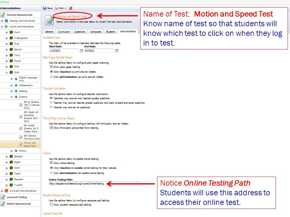 Name of Test: Motion and Speed Test