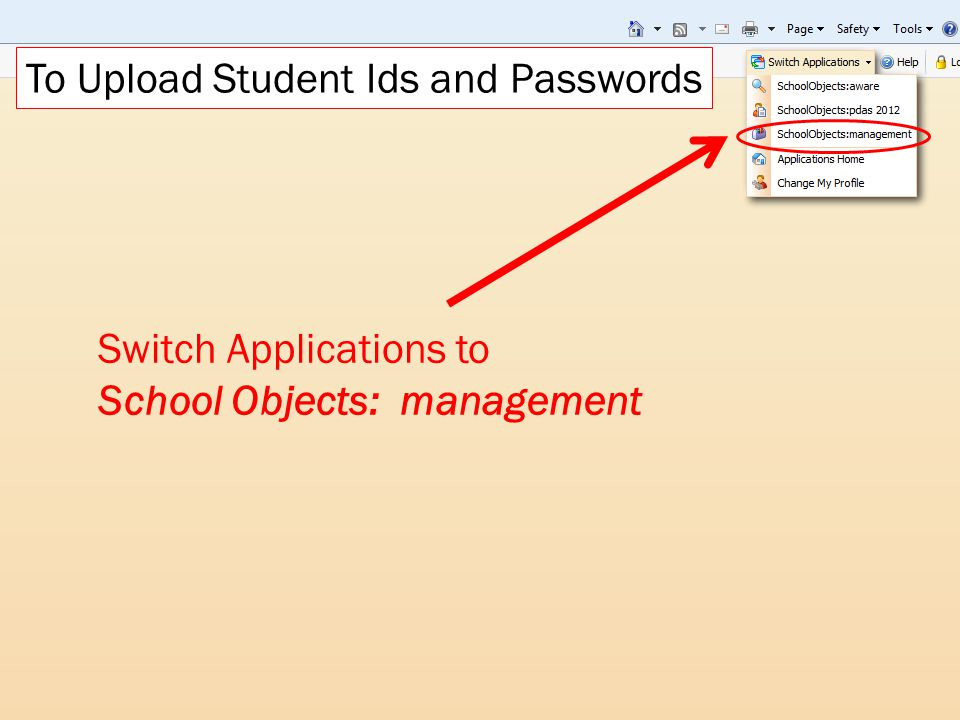 To Upload Student Ids and Passwords