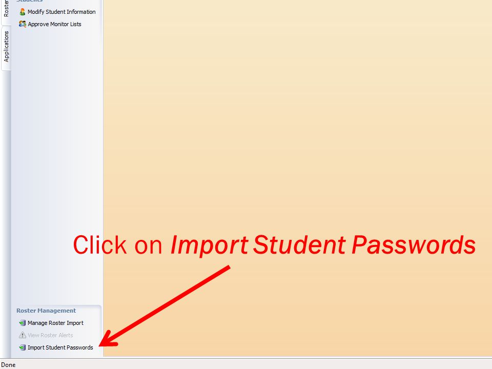 Click on Import Student Passwords