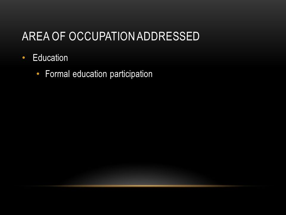 Area of occupation addressed
