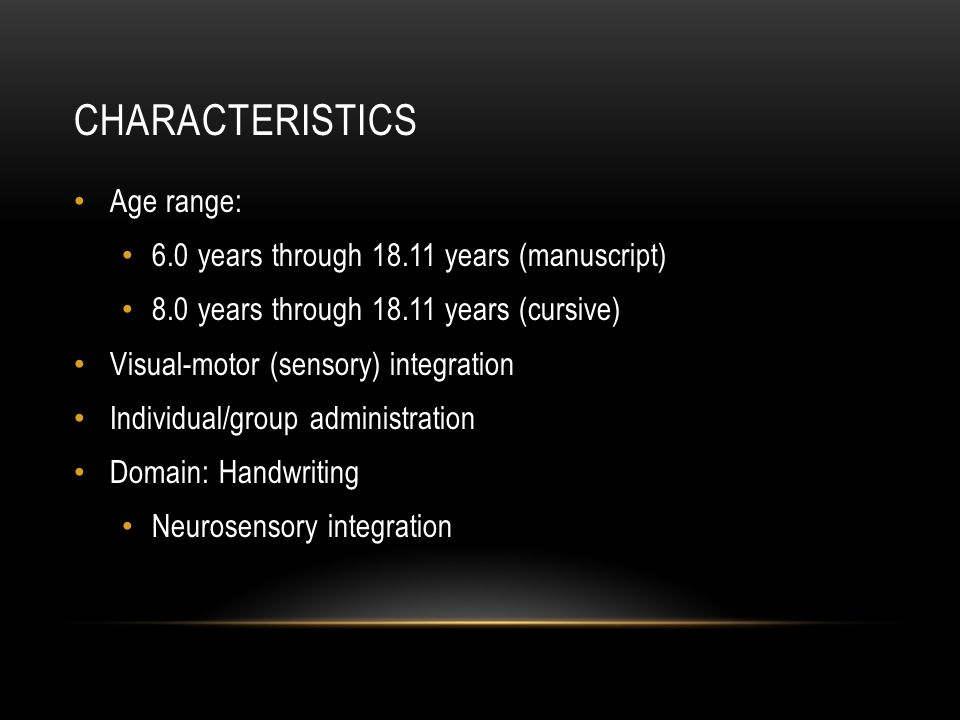 Characteristics Age range: 6.0 years through 18.11 years (manuscript)