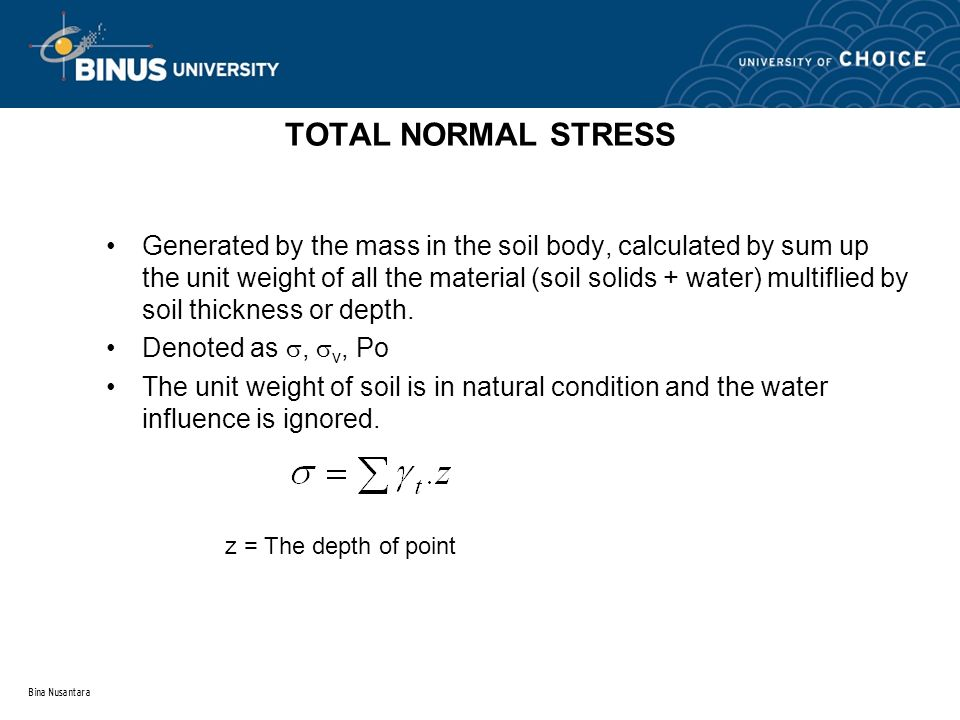 TOTAL NORMAL STRESS