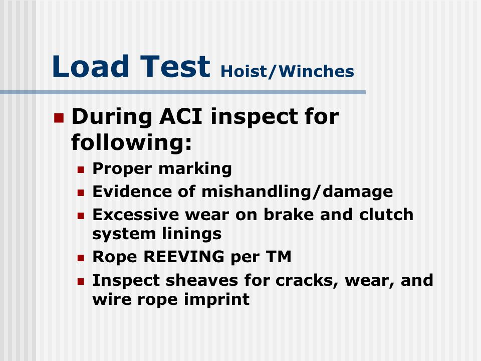 Load Test Hoist/Winches