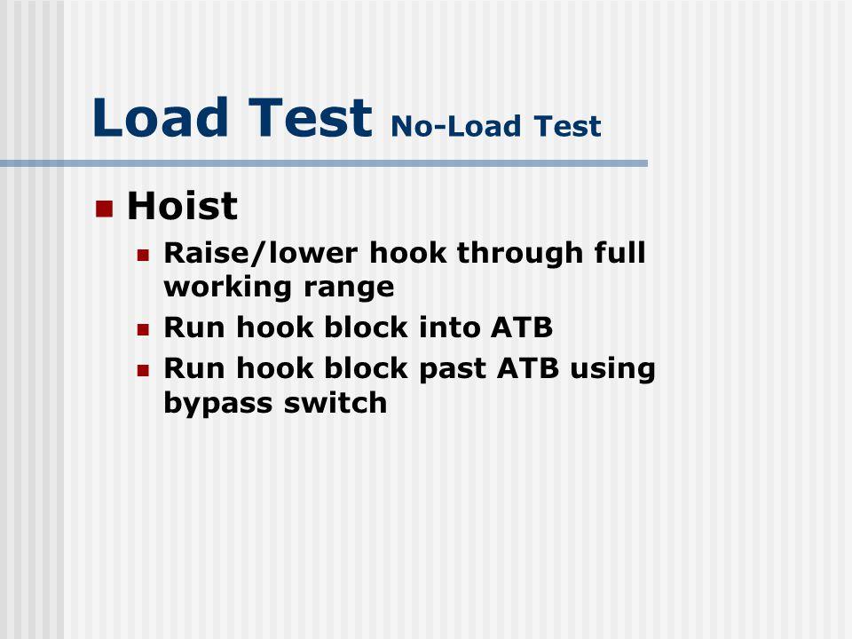 Load Test No-Load Test Hoist