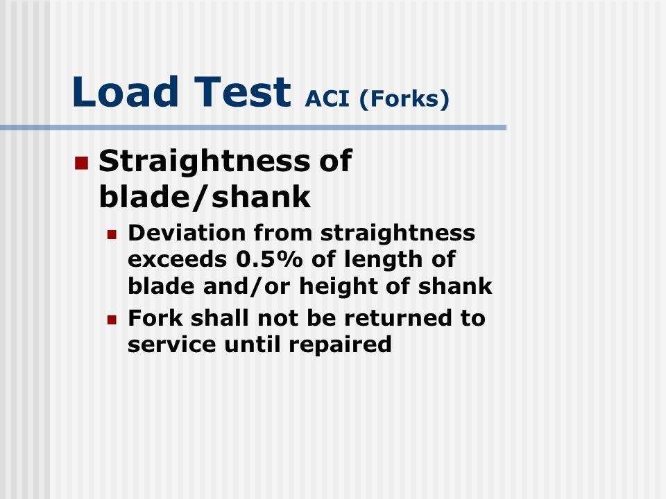 Load Test ACI (Forks) Straightness of blade/shank