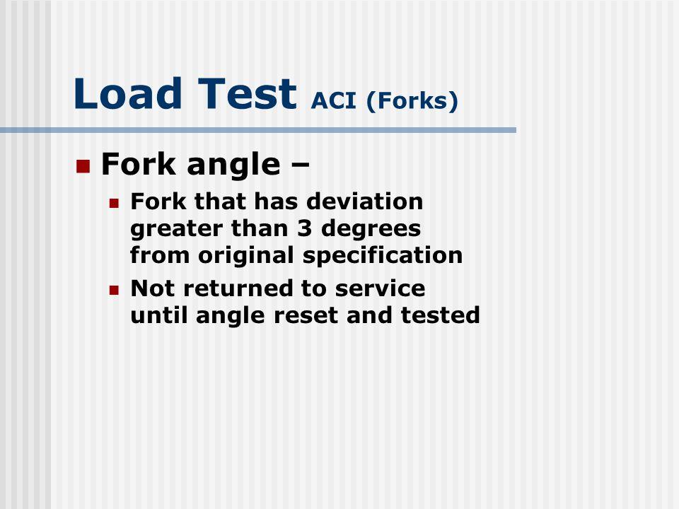 Load Test ACI (Forks) Fork angle –