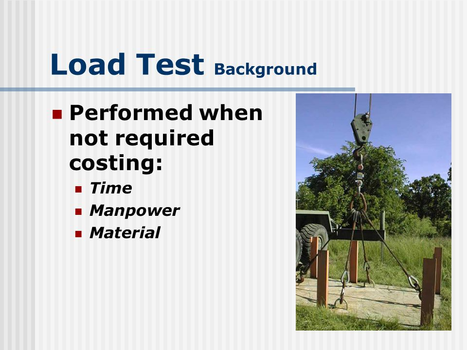 Load Test Background Performed when not required costing: Time