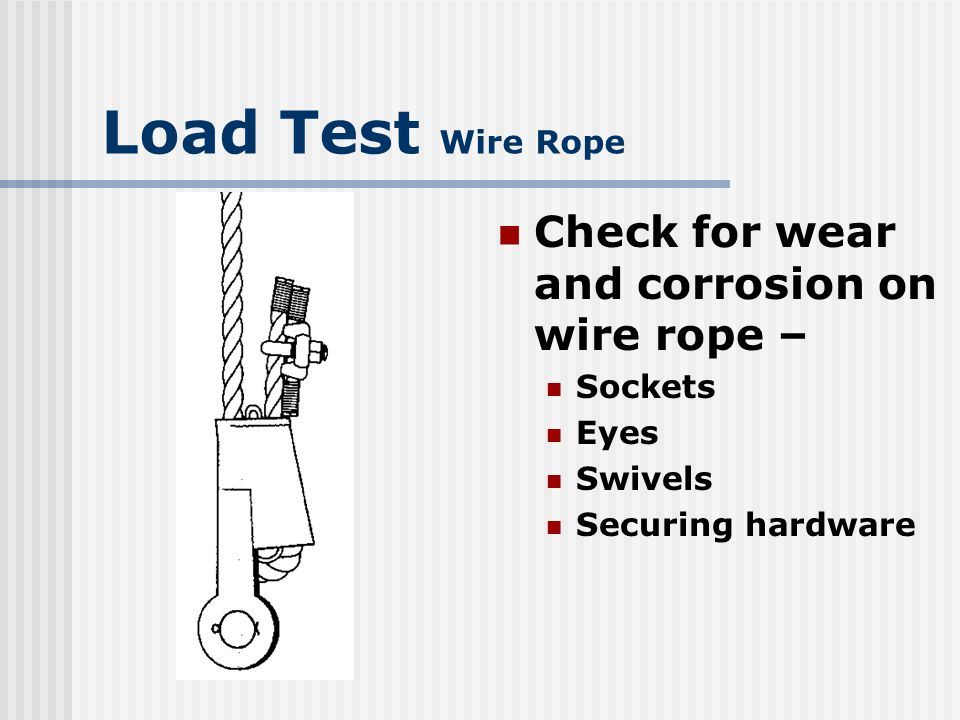 Load Test Wire Rope Check for wear and corrosion on wire rope –