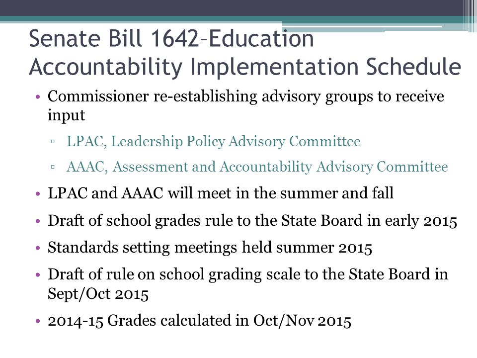 Senate Bill 1642–Education Accountability Implementation Schedule