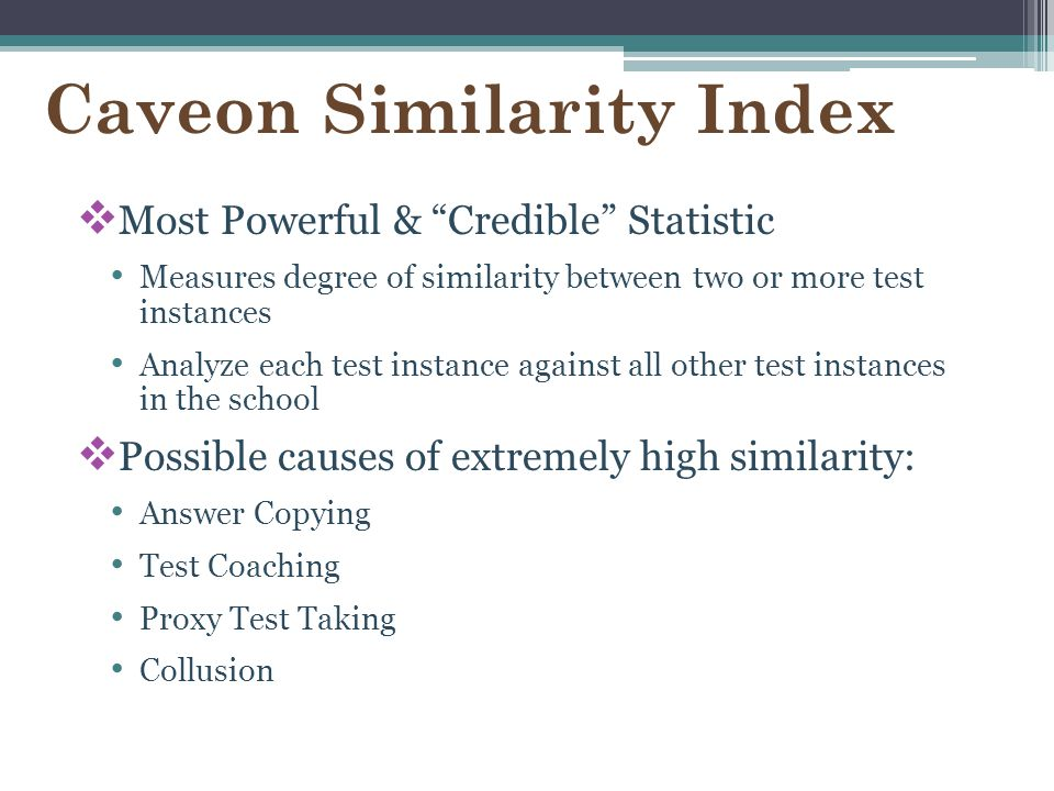 Caveon Similarity Index